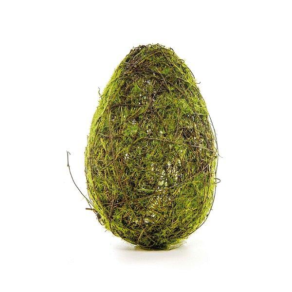 Ovo de Páscoa para Decoração Rústica Galhos e Musgo - P 18cm x 10cm - Cromus Páscoa - Rizzo Embalagens