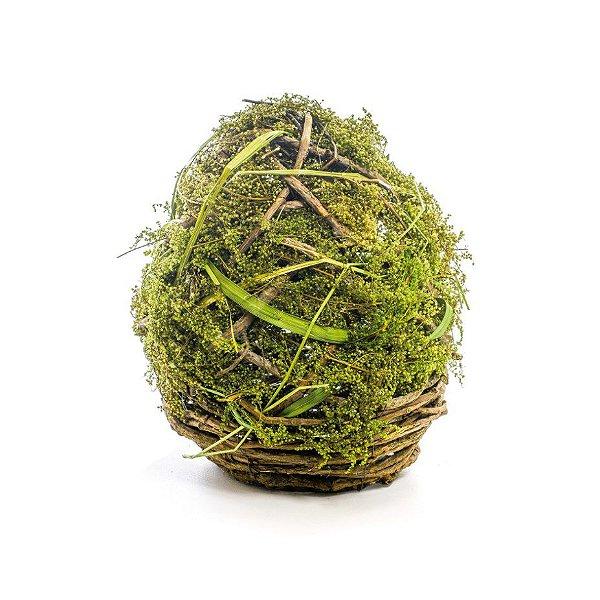 Ovo de Páscoa para Decoração Rústica Galhos e Musgo - G 27cm x 19cm - Cromus Páscoa - Rizzo Embalagens