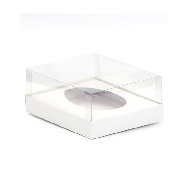 Caixa Ovo de Colher - Meio Ovo de 100g a 150g - 11cm x 12,7cm x 7,5cm - Branca - 5unidades - Assk - Páscoa Rizzo Embalagens