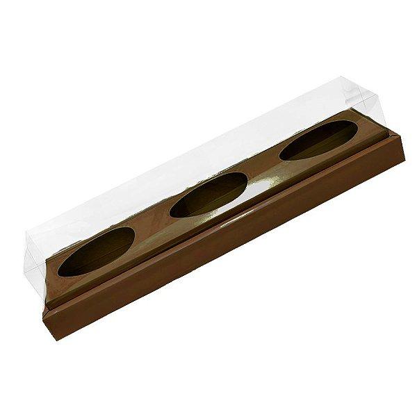 Caixa Ovo de Colher Triplo - Meio Ovo de 100g a 150g - 38,5cm x 8cm x 8cm - Marrom - 5unidades - Assk - Páscoa Rizzo Embalagens