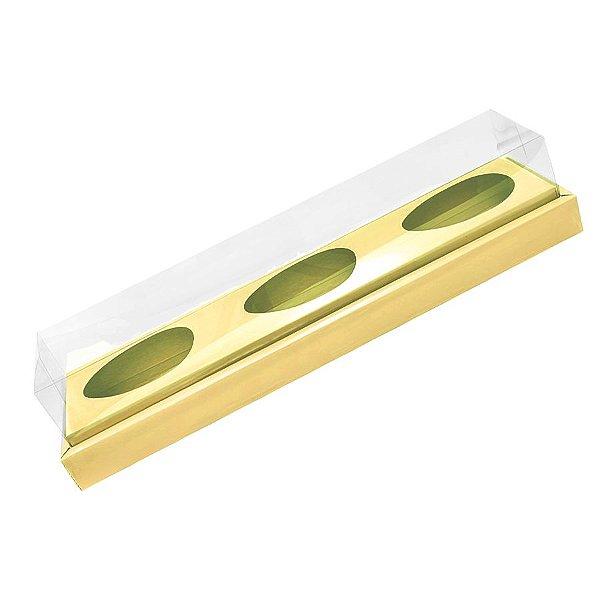 Caixa Ovo de Colher Triplo - Meio Ovo de 100g a 150g - 38,5cm x 8cm x 8cm - Ouro - 5unidades - Assk - Páscoa Rizzo Embalagens