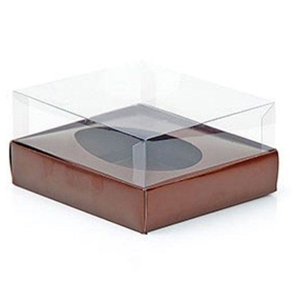 Caixa Ovo de Colher - Meio Ovo de 350g - 20,5cm x 17cm x 6,5cm - Marrom - 5unidades - Assk - Páscoa Rizzo Embalagens