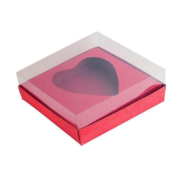 Caixa Coração de Colher - Meio Coração de 250g - 15cm x 13cm x 6,5cm - Vermelho - 5unidades - Assk - Páscoa Rizzo Embalagens