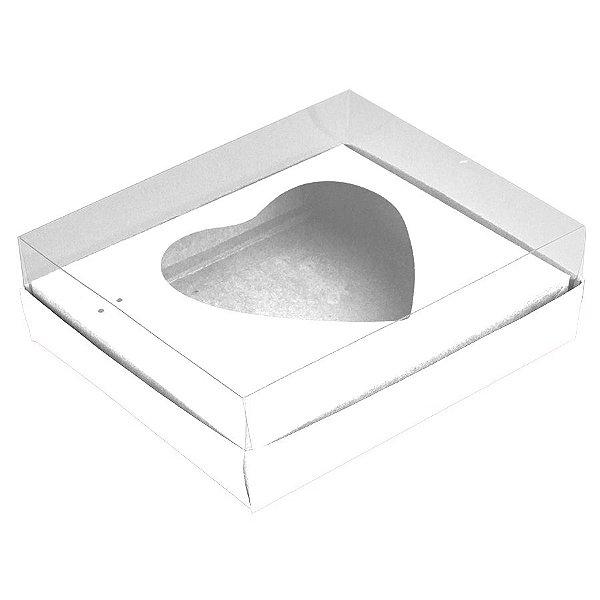 Caixa Coração de Colher - Meio Coração de 500g - 20,5cm x 17cm x 6,5cm - Branco - 5unidades - Assk - Páscoa Rizzo Embalagens