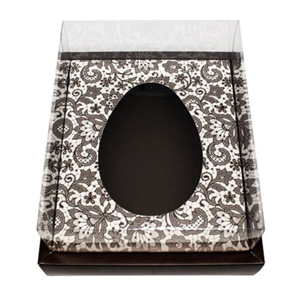 Caixa Ovo de Colher com Moldura - Meio Ovo de 250g - 20cm x 15,5cm x 10cm - Marrom Arabesco - 5unidades - Assk - Páscoa Rizzo Embalagens