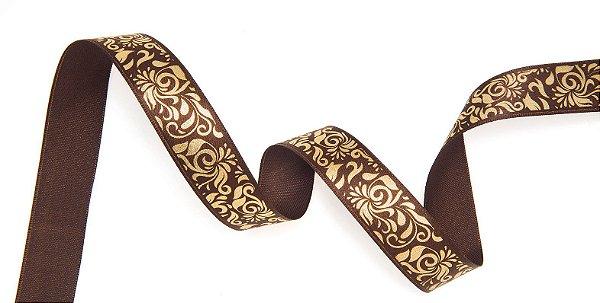 Fita de Cetim Marrom Arabescos Ouro 22mm - 10 metros - Progresso - Rizzo Embalagens