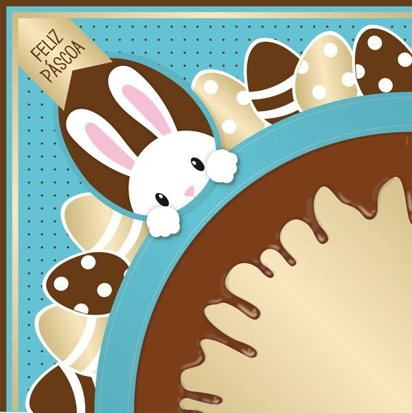 Saco Express 49x49cm para Ovos de 750g a 1kg - Chocopascoa Turquesa - 05 unidades - Cromus Páscoa - Rizzo Embalagens