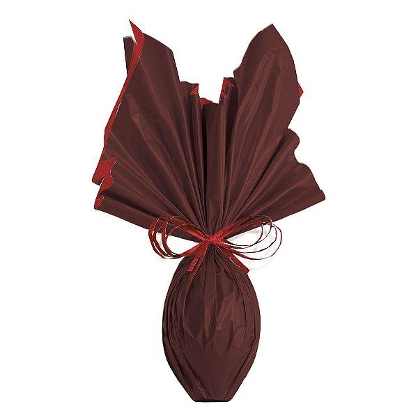 Folha para Ovos de Páscoa Double Face Acetinado Vermelho Marrom 69x89cm - 05 unidades - Cromus Páscoa - Rizzo Embalagens