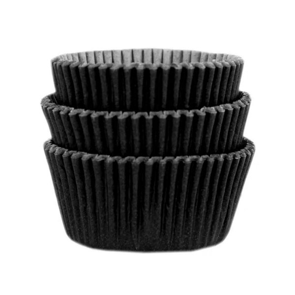 Forminha Forneável Mini Cupcake Nº 2 (2,5cm x 4cm) Preta - 45 unidades - Mago - Rizzo Embalagens