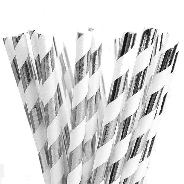 Canudo de Papel Listras Metalizado Prata - 20 unidades - ArtLille - Rizzo Festas