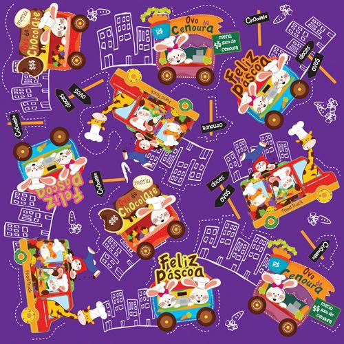 Folha para Ovos de Páscoa Metalizado Food Truck Roxo 69x89cm - 05 unidades - Cromus Páscoa - Rizzo Embalagens