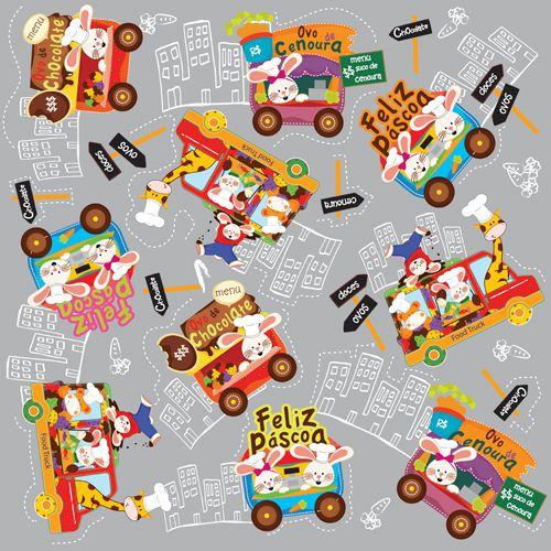 Folha para Ovos de Páscoa Metalizado Food Truck Prata 69x89cm - 05 unidades - Cromus Páscoa - Rizzo Embalagens