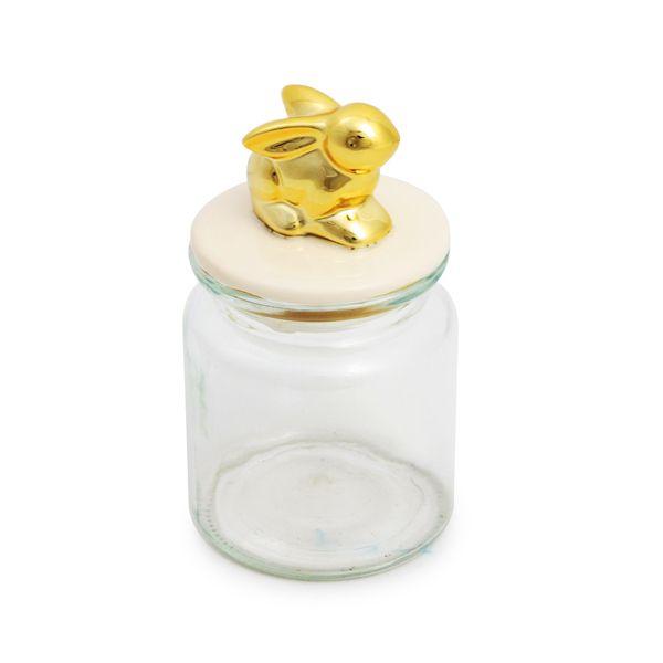 Pote de Vidro Coelhinho Dourado 250ml 14cm x 7cm - Cromus Páscoa - Rizzo Embalagens