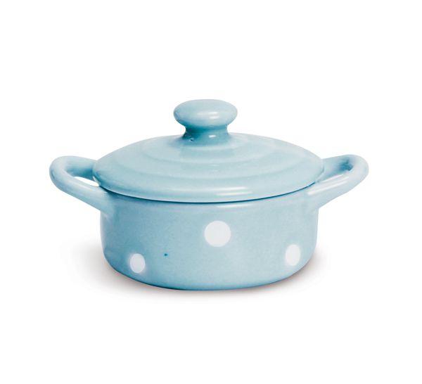 Mini Panela de Cerâmica Azul Poá Branco 5,5cm x 2cm - Cromus Páscoa - Rizzo Embalagens