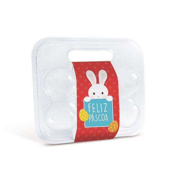 Maleta para 6 ovos com Cinta Coelhinho Vermelho 16,5x15,3x6,8cm - 10 unidades - Cromus Páscoa - Rizzo Embalagens