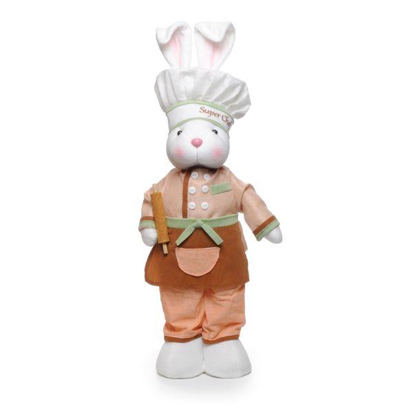 Coelho Chef em Pé Coral Marrom 53cm x 15cm - Cromus Páscoa - Rizzo Embalagens
