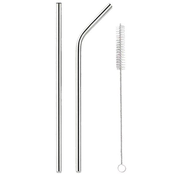 Kit Canudo de Metal Inox Reto e Curvo e Escovinha 26,5cm com 3 unidades Rizzo Embalagens