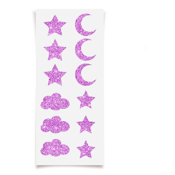 Adesivo com Glitter Festa dos Sonhos - 12 unidades - Cromus - Rizzo Festas