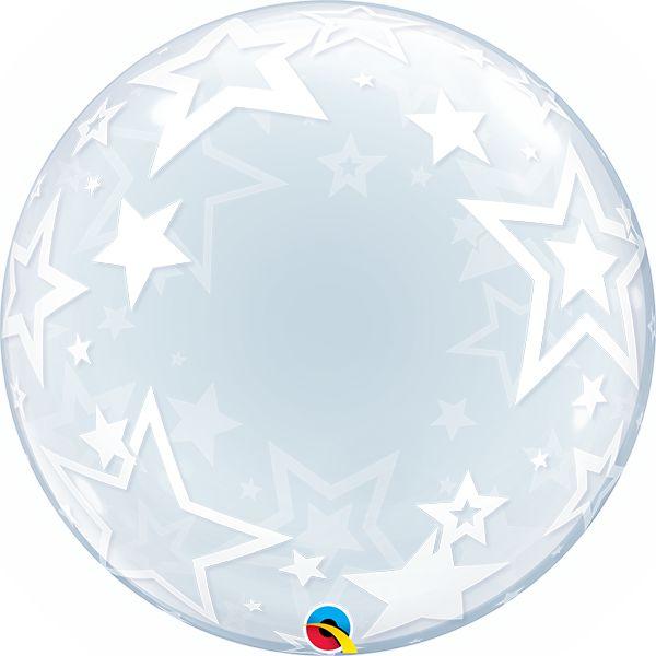 Balão Bubble Transparente Estrelas Elegantes - 24'' 61cm - Qualatex - Rizzo festas