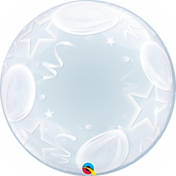 Balão Bubble Transparente Balões e Estrelas - 24'' 61cm - Qualatex - Rizzo festas