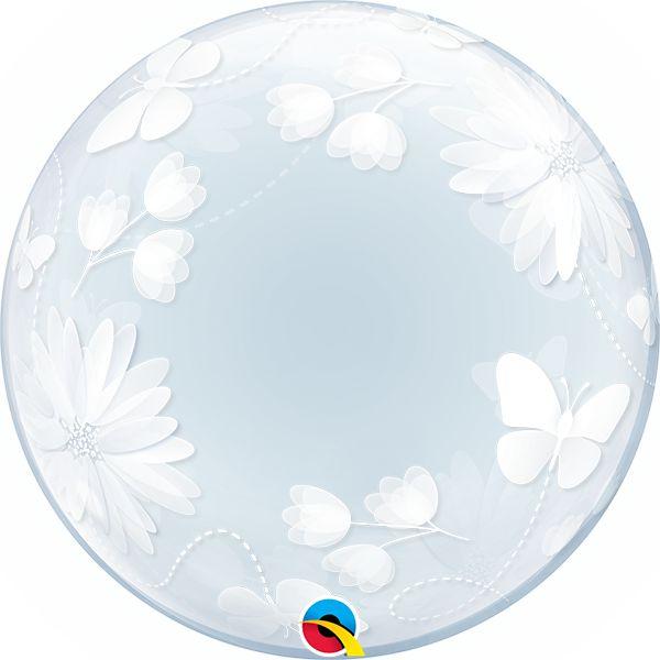Balão Bubble Transparente Borboletas e Flores - 24'' 61cm - Qualatex - Rizzo festas