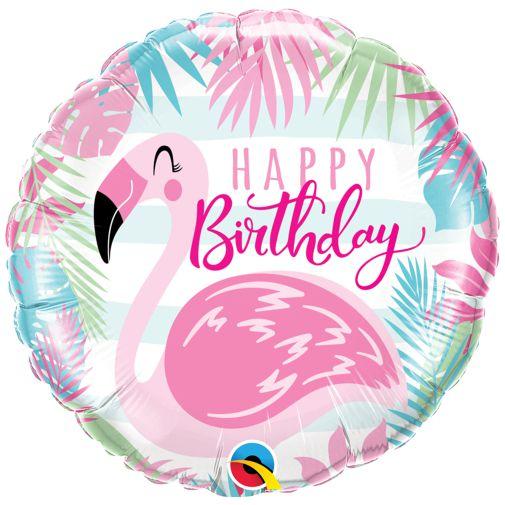 Balão Metalizado Flamingo Rosa de Aniversário - 18'' - Qualatex - Rizzo festas