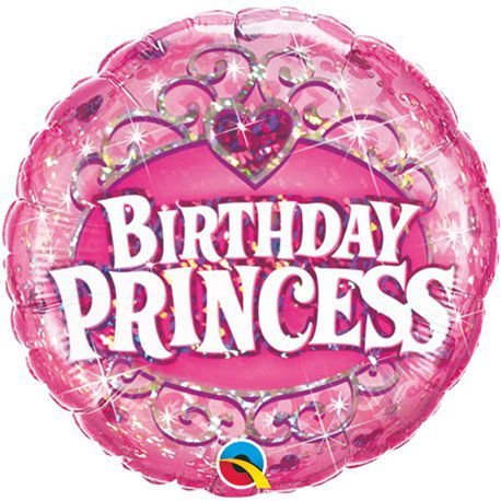 Balão Metalizado Holográfico Birthday Princess - 18'' - Qualatex - Rizzo festas