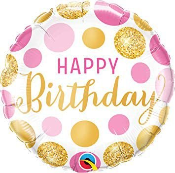 Balão Metalizado Pontos Rosa e Ouros de Aniversário - 18'' - Qualatex - Rizzo festas
