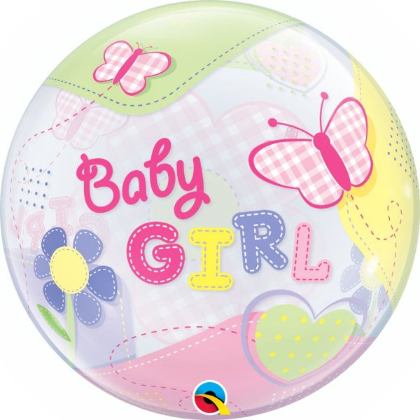 Balão Bubble Transparente Borboletas Baby Girl - 22'' 56cm - Qualatex - Rizzo festas