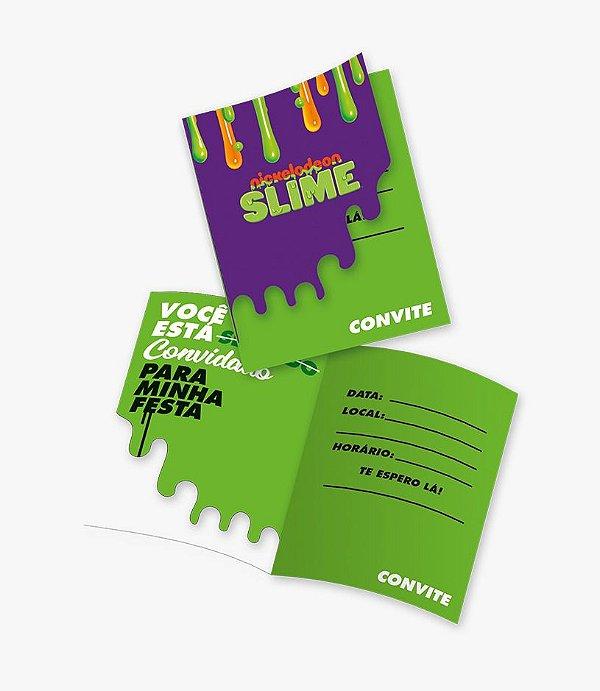 Convite Festa Slime - 8 unidades - Festcolor - Rizzo Festas