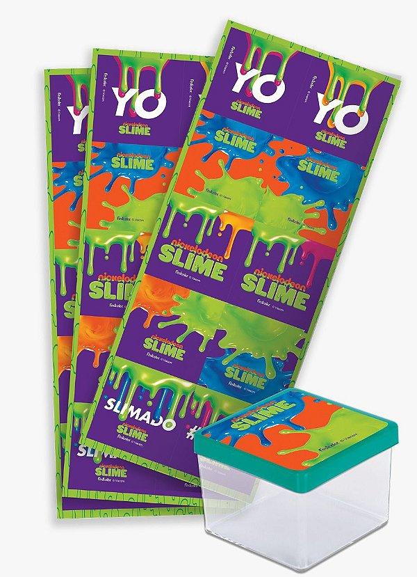 Adesivo Quadrado para Lembrancinha Festa Slime - 30 unidades - Festcolor - Rizzo Festas