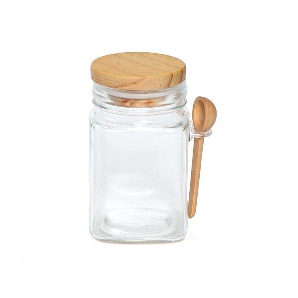 Potinho de Vidro para Bolo Quadrado M 280ml Tampa Madeira - 1 Unidade - Cromus - Rizzo Embalagens