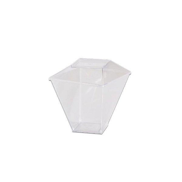 Copo Quadratto com Tampa 100ml Cristal - 10 unidades - Prafesta - Rizzo Embalagens