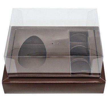 Caixa Ovo de Colher com Moldura 3 Bombons - Meio Ovo de 100g a 150g - 20cm x 15cm x 10cm - Marrom - 5unidades - Assk - Páscoa Rizzo Embalagens