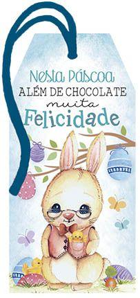 Tag de Páscoa Madeira Coelho Felicidade - LitoArte - Rizzo Embalagens