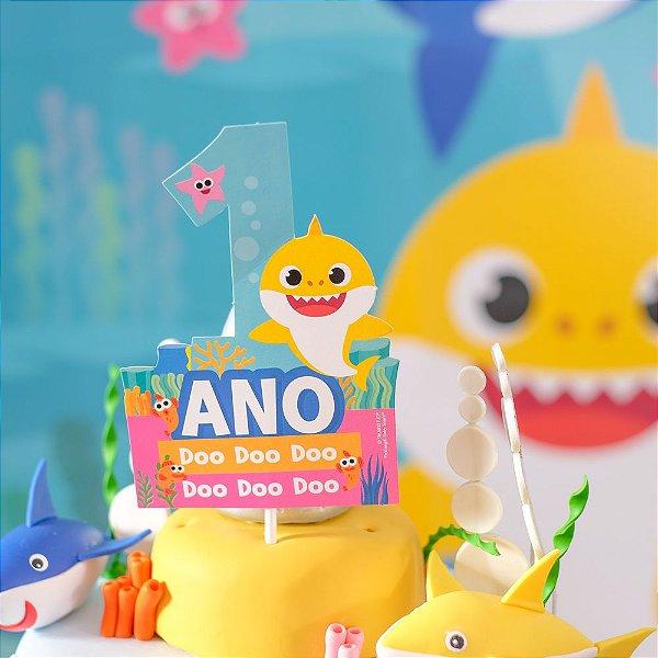 Topo de Bolo 1 Ano Festa Baby Shark - 1 Unidade - Cromus - Rizzo Festas