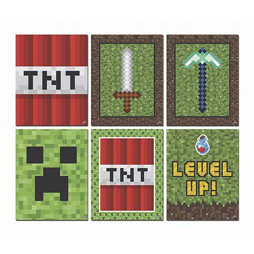 Quadrinhos Decorativos Festa Minecraft - 6 unidades - Junco - Rizzo Festas