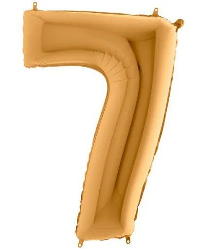Balão Metalizado Número - 7 - Ouro - (40'' Aprox 100cm) - Rizzo Embalagens