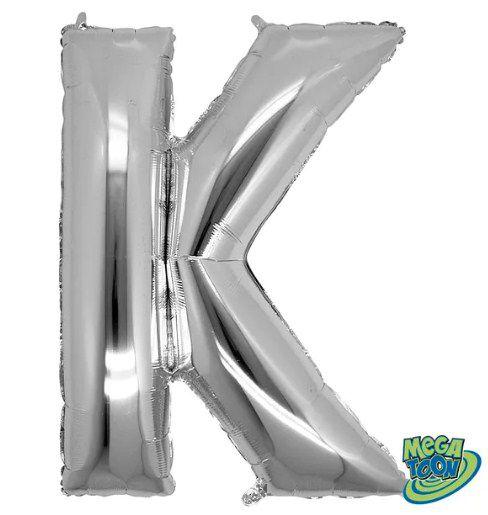 Balão Metalizado Letra - K - Prata - (14'' Aprox 36cm) - Rizzo Embalagens