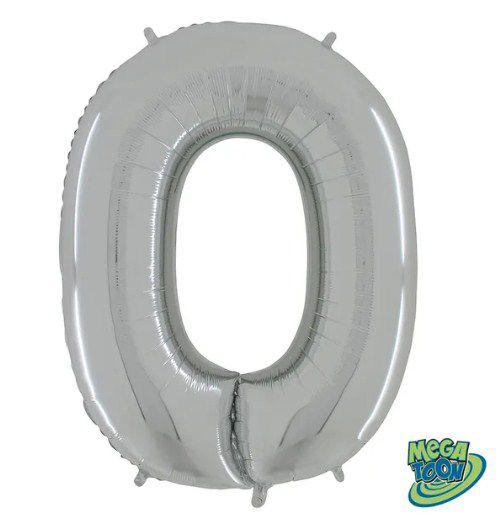 Balão Metalizado Letra - O - Prata - (14'' Aprox 36cm) - Rizzo Embalagens