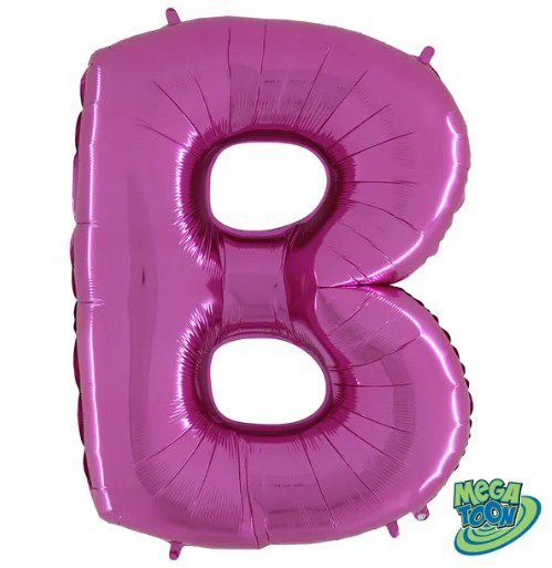 Balão Metalizado Letra - B - Rosa - (14'' Aprox 36cm) - Rizzo Embalagens