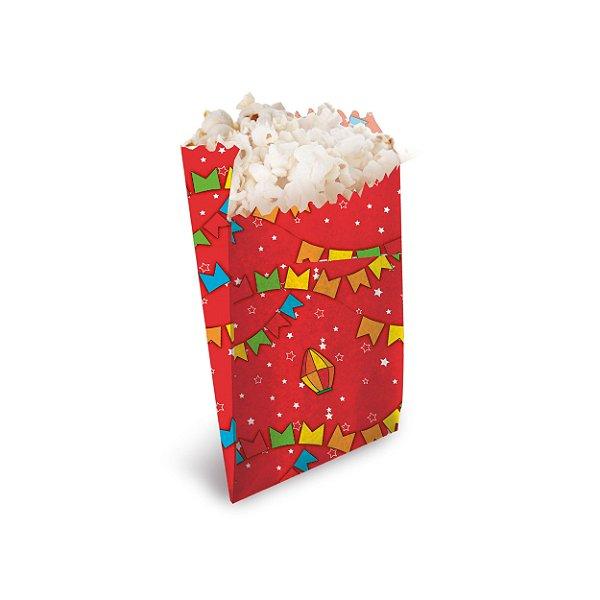 Saquinho para Pipoca e Hot Dog Vermelho 14x8x4cm Festa Junina - 50 unidades - Cromus - Rizzo Festas