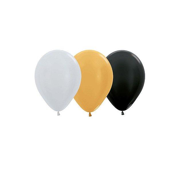 Balão de Festa Latex R10'' 25cm - Sortido Deluxe Satin Perolado - 50 unidades - Sempertex Cromus - Rizzo Festas