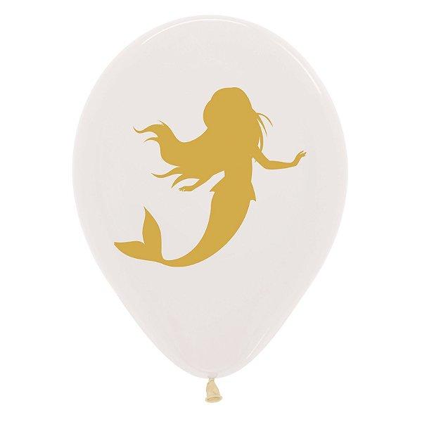 Balão de Festa Latex R12'' 30cm - Cristal Sereia Dourada - 12 unidades - Sempertex Cromus - Rizzo Festas