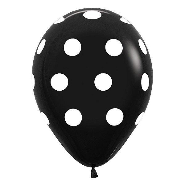 Balão de Festa Latex R12'' 30cm - Polka Dot Fashion Preto - 12 unidades - Sempertex Cromus - Rizzo Festas