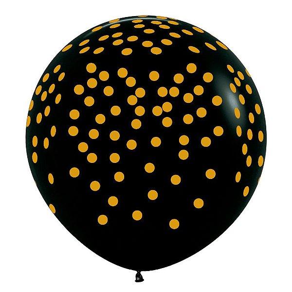 Balão de Festa Latex R36'' 91,5cm - Fashion Confetti Preto - 02 unidades - Sempertex Cromus - Rizzo Festas