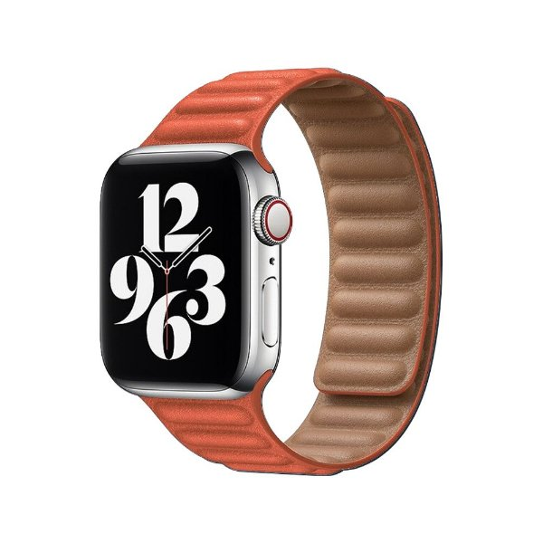 Pulseira Apple Watch Elos em Couro - Laranja