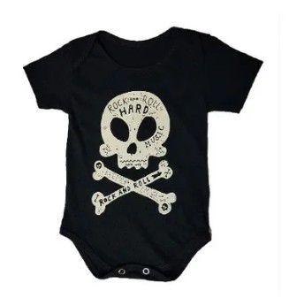Body Bebê Caveira Rock n Roll Hard