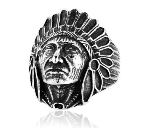 Anel Índio Cacique em Aço