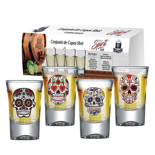 Conjunto Copo Shot Caveira Mexicana 42ml Spirit Bar